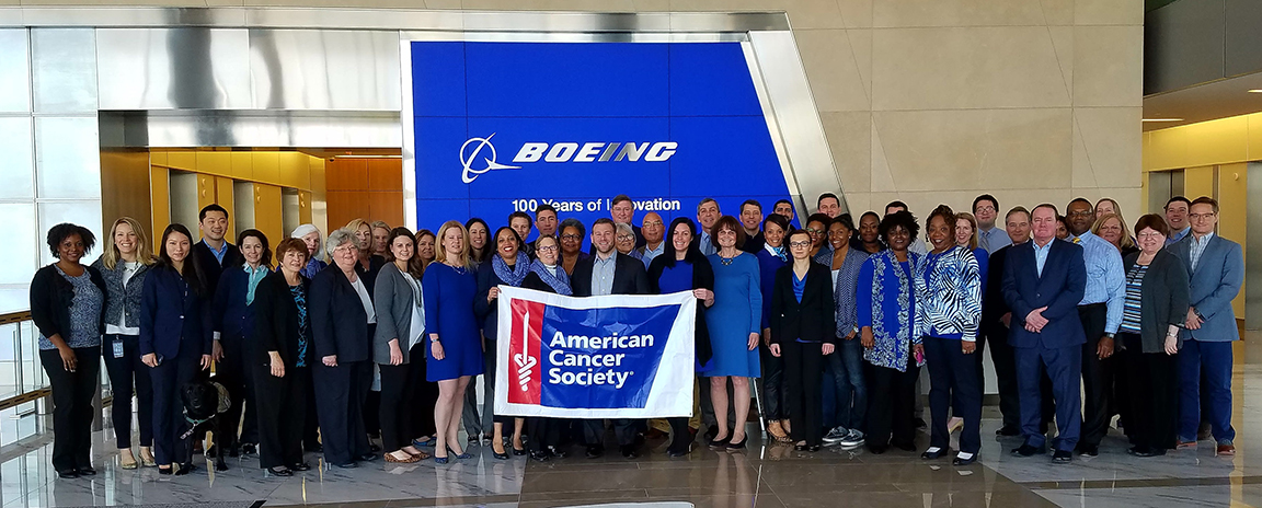 Employees from Boeing Long Bridge gather in support  of the Boeing-ACS employee drive.